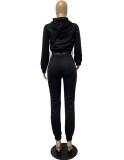 Otoño Casual liso negro de manga larga con capucha y pantalones de chándal Conjunto de dos piezas
