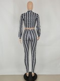 Fall Sexy White Plaid Tie-Wrap Long Sleeve Crop Top And High Waist Slim Pants Two Piece Set