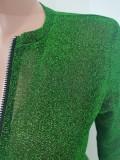 Herbst Sexy Grüner Langarm-Overall mit Reißverschluss