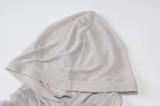 Mini abito con cappuccio a una spalla grigio a costine alla moda sexy autunnale