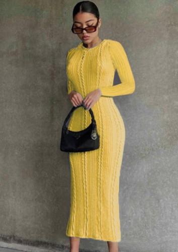 Sonbahar Sarı Uzun Kol Yuvarlak Yaka Örme Uzun Elbise