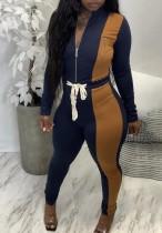 Set di due pezzi con cerniera a contrasto blu scuro alla moda autunnale a maniche lunghe e pantaloni a vita alta
