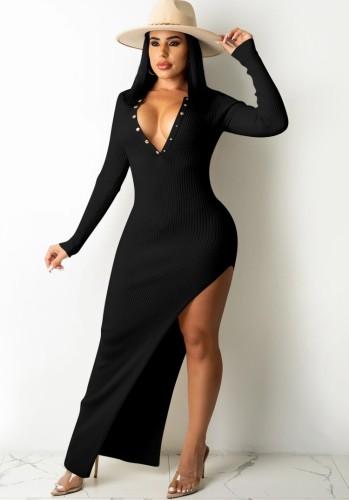 Sonbahar Seksi Siyah Düğmeli Siyahsız Düzensiz Bölünmüş Örme Uzun Elbise