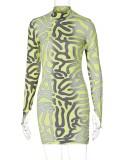 Herbst Sexy Print Langarm Bodaycon Kleid