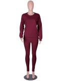 Fall Casual Plain Burgundy Long Sleeve Loose Sweatshirt And Matching Pants Two Piece Sweatsuit