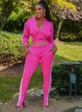 Herfst Casual roze contrasterende ritszak met lange mouwen en bijpassende broek Tweedelige set