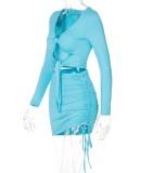 Set di abiti a maniche lunghe con top corto e cravatta a maniche lunghe blu sexy autunnali