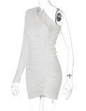Fall Sexy White One Shoulder Tie Ruffles Mini Dress