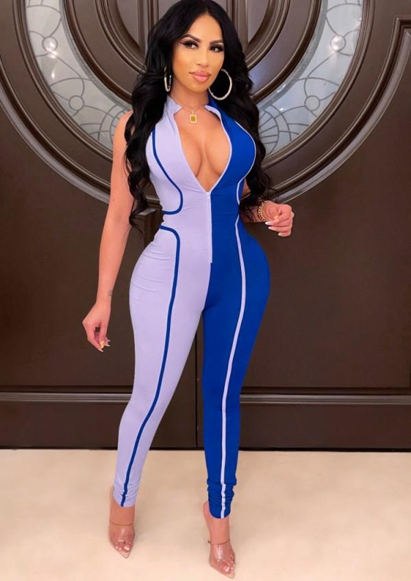 Herbst Sexy Blauer Kontrast Ärmelloser Reißverschluss Slim Jumpsuit