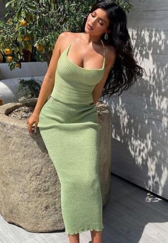 Vestido largo sin mangas con costilla verde sexy de otoño