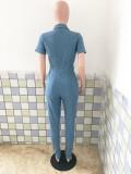 Mono largo de mezclilla delgado de manga corta con cuello abotonado y botones azules de Fall Sexy Lgiht