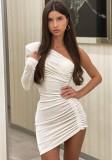 Herbst Sexy Weißes One-Shoulder-Krawatte-Minikleid mit Rüschen