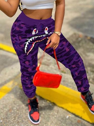 Herfst Casual Sports Paarse Camou-joggingbroek met hoge taille en trekkoord