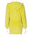 Conjunto de minivestido y blusas amarillas sexy de otoño