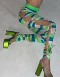 Herbst Sexy Grüner Streifen Aushöhlen Langarm Top und Hose Set