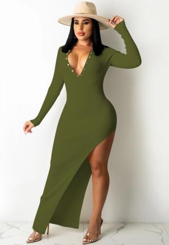 Güz Seksi Yeşil Düğmeli Up Blackless Düzensiz Bölünmüş Örme Uzun Elbise