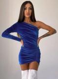 Herbst Sexy Blau One-Shoulder-Krawatte Rüschen Minikleid