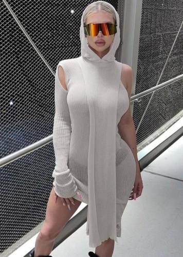 Minivestido com capuz com capuz e canelinha sexy elegante cinza com um ombro