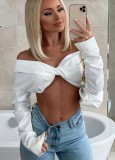 Fall Sexy White Off Shoulder Long Sleeve Crop Top