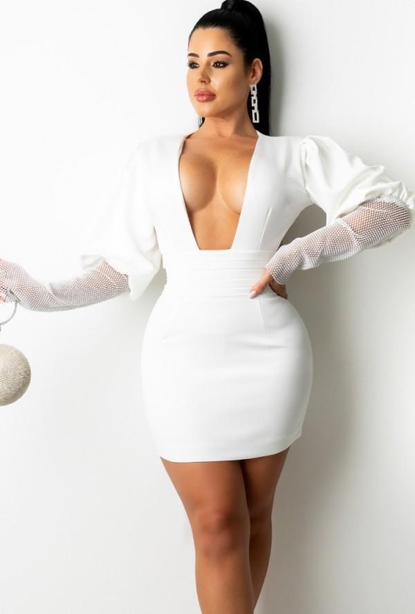 Herfst Sexy Witte Plunge Neck Mesh Patchwork Puff Sleeve Backless Bodycon Jurk