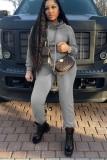Conjunto de dos piezas de sudadera con capucha y pantalones deportivos de manga larga gris liso casual de otoño