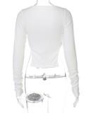Herbst Stilvolles weißes, langärmliges Crop-Top mit Knöpfen