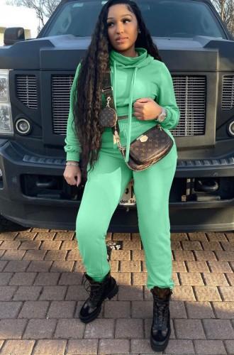 Autunno Casual Pianura Verde Manica Lunga Crop Felpa Con Cappuccio E Pantaloni Della Tuta Due Pezzi
