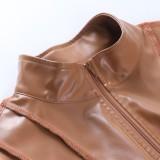 Herbst Sexy braune Langarm-Pu-Leder-Crop-Jacke mit Reißverschluss