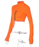 Otoño elegante blusa corta de manga larga con cremallera y cuello alto naranja
