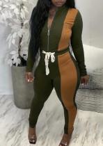 Set di due pezzi con top a maniche lunghe e pantaloni a vita alta con cerniera a contrasto verde alla moda autunnale