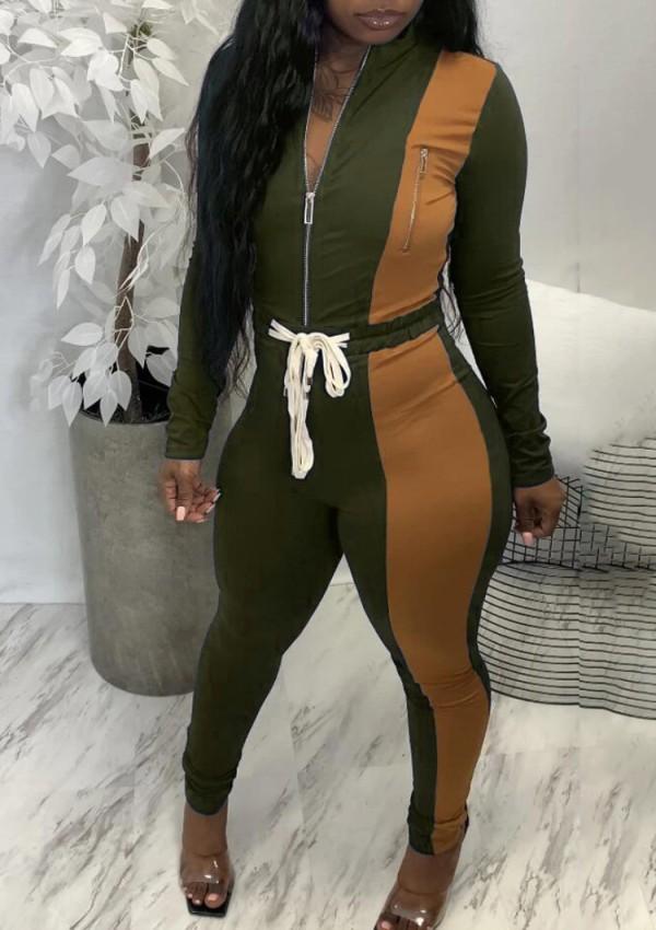 Herfst Trendy groene contrasterende rits, lange mouw top en hoge taille broek Tweedelige set