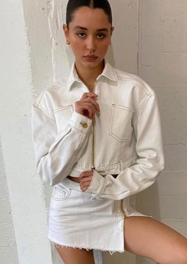 Herbst Stilvolle weiße Umlegekragen Reißverschluss Langarm Mantel und Reißverschluss Minikleid Set