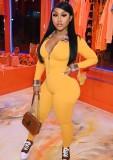 Tuta a maniche lunghe slim con cerniera e colletto alla rovescia scozzese arancione sexy autunnale