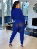 Herbst Sexy Blau Reißverschluss Langarm Overall