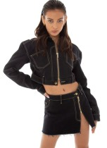Otoño elegante negro cuello vuelto cremallera manga larga abrigo y mini vestido con cremallera