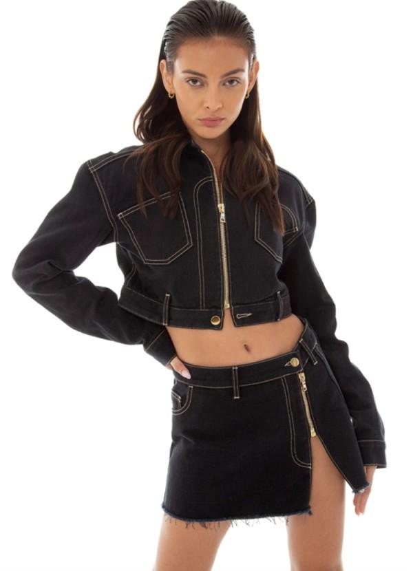 Herbst Stilvolle Schwarze Umlegekragen Reißverschluss Langarm Mantel Und Reißverschluss Minikleid Set