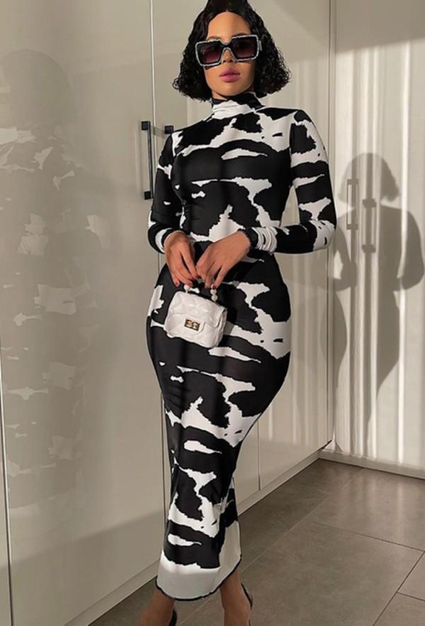Vestido largo de manga larga con estampado blanco y negro de otoño