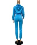 Conjunto de dos piezas de sudadera con capucha y pantalones deportivos de manga larga azul liso casual de otoño
