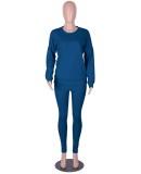 Felpa allentata a maniche lunghe blu tinta unita casual autunno e pantaloni abbinati Tuta a due pezzi