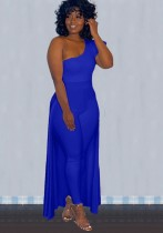 Fall Sexy Blue Ruffled One Shoulder Slim Jumpsuit With Hem