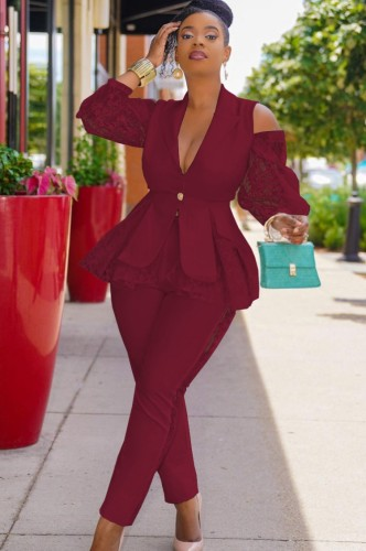 Fall Elegant Dk-Red Ruffles Lace Cut Out Shoulder Long Sleeve Blazer And Pant Set