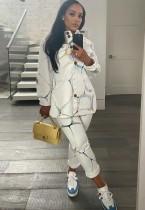 Herfst causale print witte hoge hals losse blouse met lange mouwen en bijpassende broek set