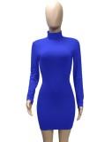 Vestido ajustado de manga larga con lazo sin espalda azul sexy de otoño