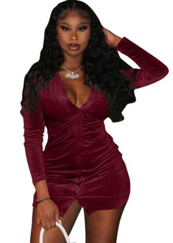 秋のセクシーな赤いボタンオープン長袖ドレス