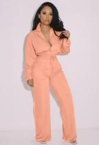 Herfst trendy roze turndown kraag lange mouw blouse en losse broek set