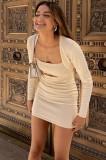 Vestido ajustado con tirantes de albaricoque sexy de otoño con conjunto de cárdigan corto