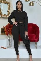 Conjunto de dos piezas de pantalón y top de manga larga negro casual de otoño