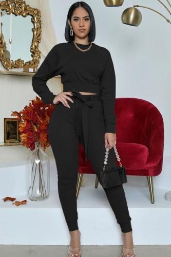 Set di due pezzi con top e pantaloni neri casual autunnali a maniche lunghe