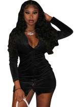 Vestido de manga larga abierto con botones negros sexy de otoño
