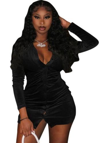 秋のセクシーな黒のボタンオープン長袖ドレス